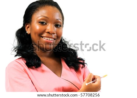 Beautiful African American healthcare professional in pink scrubs - smiling - needle - copy space right - stock photo