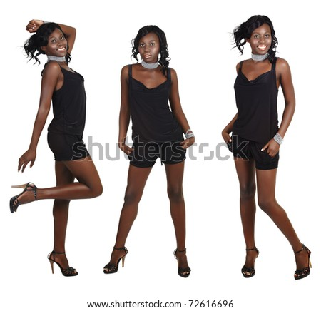 beautiful African American model with fit slim body wearing short playsuit and pearl accessories on white background in three different poses - stock photo