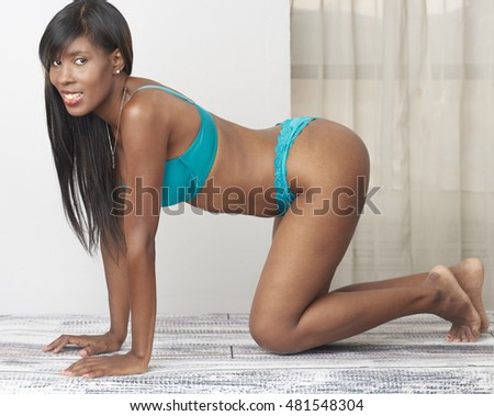 Beautiful African American model with slim, fit body posing in studio setting wearing upscale lingerie.