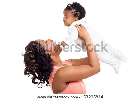 beautiful african american mother playing with her baby daughter isolated on white background - stock photo
