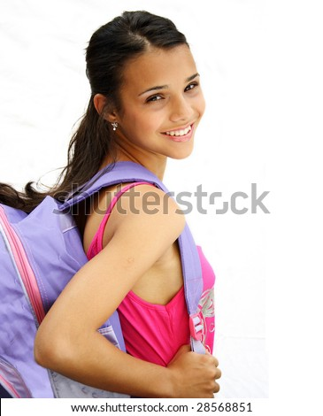 Beautiful african american student teenager carrying her bag and smiling- isolated over a white background.