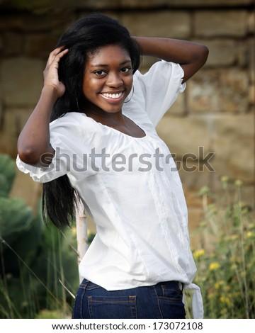 Beautiful African-American teenage girl - stock photo