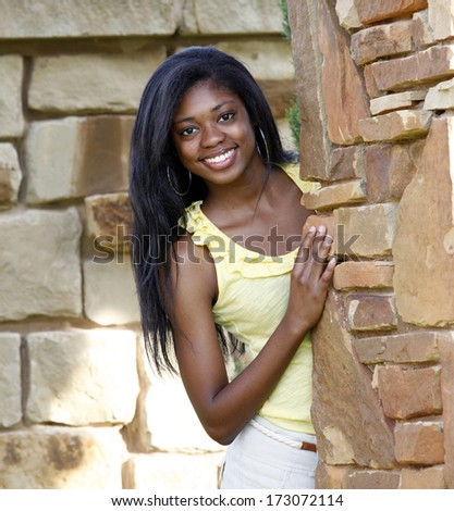 Beautiful African-American teenage girl - stock photo