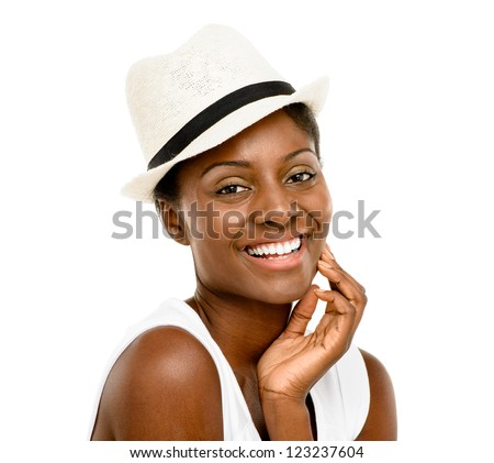 Beautiful African American Woman Close up portrait isolated on white background - stock photo