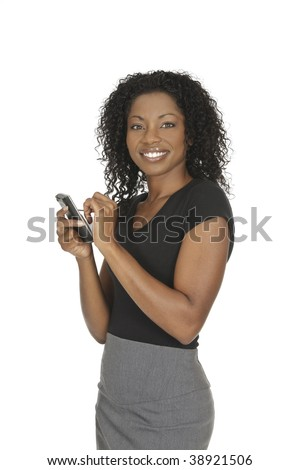 Beautiful African American woman holding a PDA on a white background