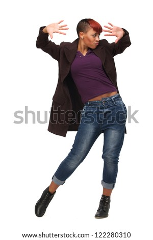 Beautiful African American woman in modern dance pose. Isolated on white background