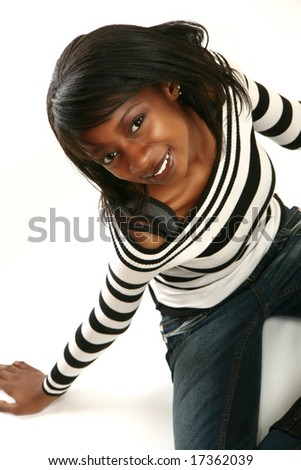 Beautiful African American woman smiling - stock photo