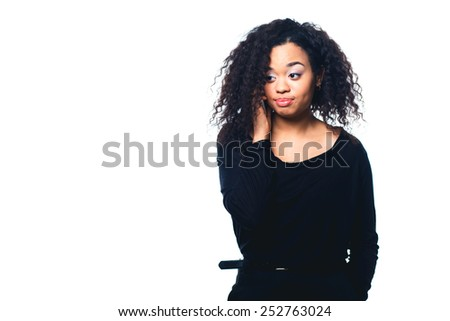 Beautiful African American woman talking on cell phone, - stock photo