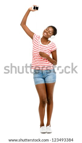 Beautiful African American Woman video messaging mobile phone isolated on white background