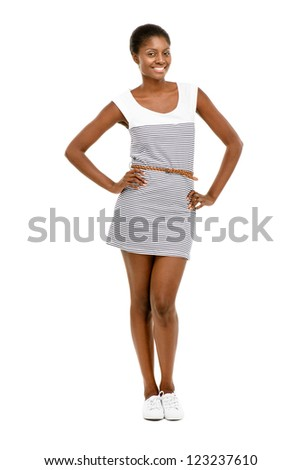 Beautiful African American woman vintage dress isolated on white background - stock photo
