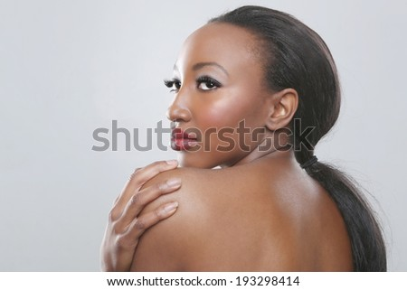 Beautiful African American Woman With Beauty Makeup - stock photo