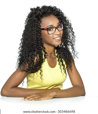 beautiful african-american woman with glasses smiling. - stock photo