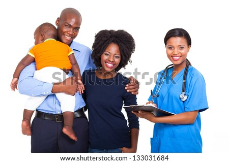 beautiful African female healthcare worker with young family isolated on white