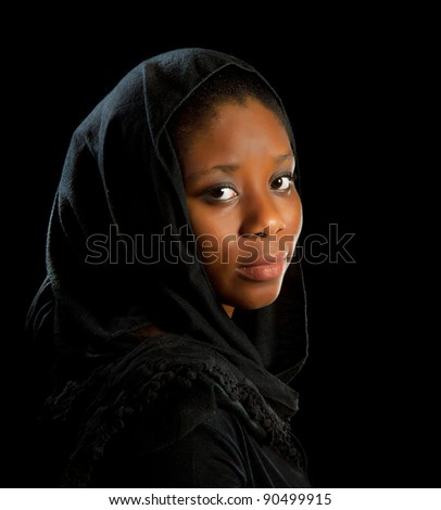 Beautiful African Ghanese woman in melancholic mood - stock photo