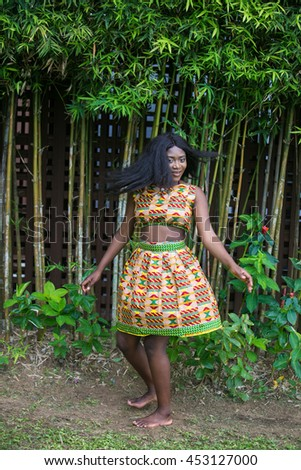 Beautiful African girl in modern ethnic dress.