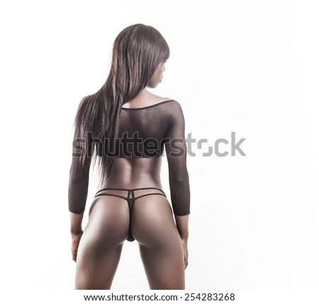 Beautiful african model back and butt - stock photo