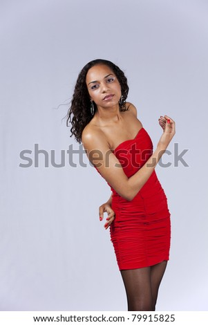 Beautiful african model posing (isolated on gray) - stock photo