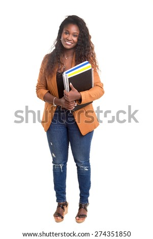 Beautiful african student woman posing isolated over white background - stock photo