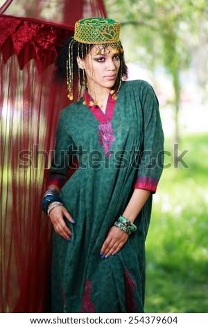 beautiful african woman as boho eastern princess - stock photo