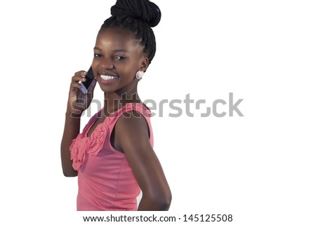 beautiful african woman making a call isolated on white