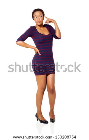 beautiful african woman posing over white background