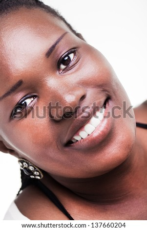 beautiful african woman smiling warmly - stock photo