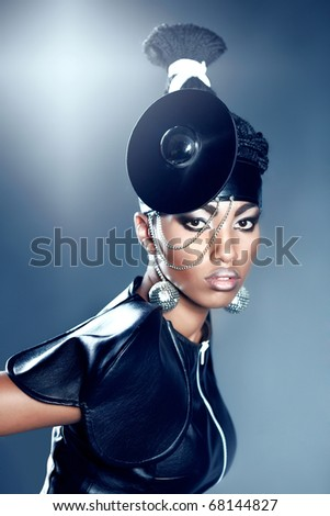 Beautiful african woman whith fashion make-up - stock photo