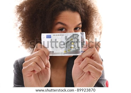 Beautiful afro woman with money