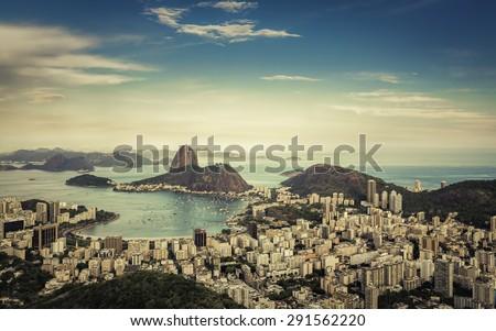 Beautiful afternoon skyline view of Rio de Janeiro, Brazil - stock photo