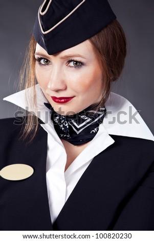 Beautiful air hostess - stock photo