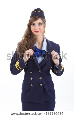 Beautiful air hostess isolated on white background