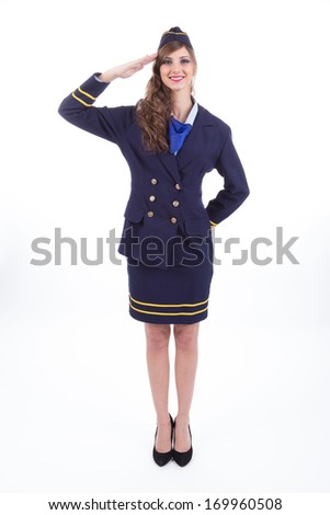 Beautiful air hostess isolated on white background - stock photo