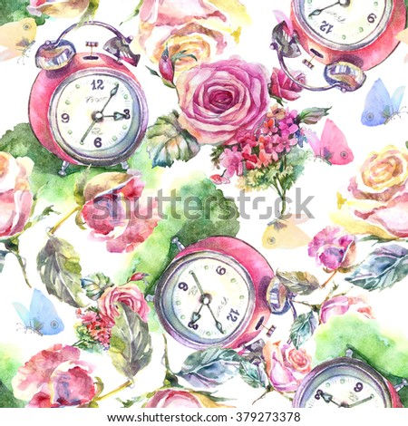 Beautiful alarm clock with roses flowers and butterflies seamless pattern. - stock photo