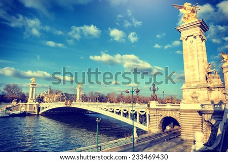 Beautiful Alexandre III bridge at sunny day. Paris, France - stock photo