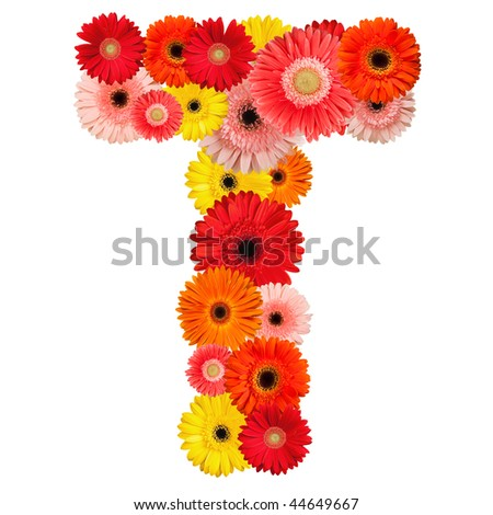 Beautiful alphabet of flowers - isolated on white