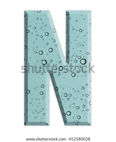 Beautiful alphabet on drop of water and on white background