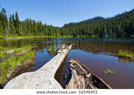 Beautiful alpine lake called Lodge Lake nestled in Snoqualmie Pass in western Washington on a sunny summer day.