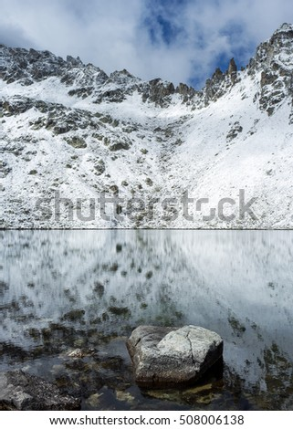 Beautiful alpine lake with some snow on a winter day