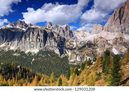 Beautiful alpine landscape in sunny day, Dolomite Alps, Italy