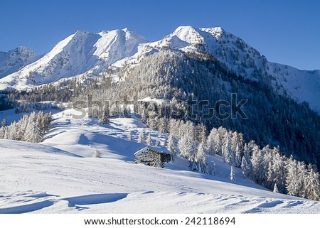 Beautiful alpine scenery with snow and hut - stock photo