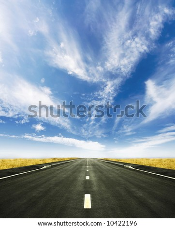 Beautiful altitude shot with blue cloudy sky and vivid yellow high grass. Central road leading to the horizon. - stock photo