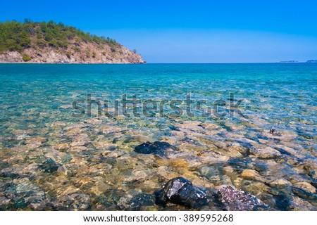 Beautiful amazing nature background. Tropical blue sea. Luxury holiday resort. Fresh  freedom. Adventure day. Sunny country Turkey.  - stock photo