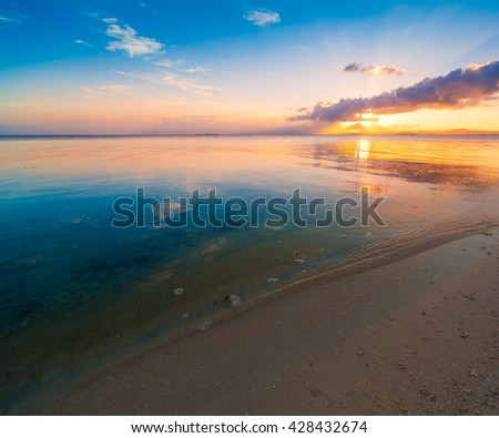 Beautiful amazing nature background. Tropical blue sun sea in Philippines . Luxury holiday resort. Island atoll about coral reef. Fresh freedom. Adventure sunset. Coconut paradise.  - stock photo