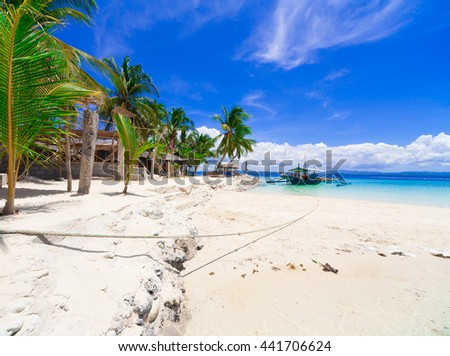 Beautiful amazing nature background. Tropical blue sun sea in Philippines . Luxury holiday resort. Island atoll about coral reef. Fresh freedom. Adventure day. Snorkeling. Coconut paradise.