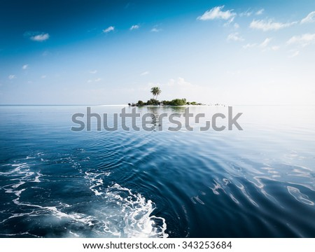 Beautiful amazing nature background. Tropical blue sun sea. Luxury holiday resort. Island atoll about coral reef. Fresh  freedom. Adventure day. Snorkeling. Coconut paradise.  - stock photo