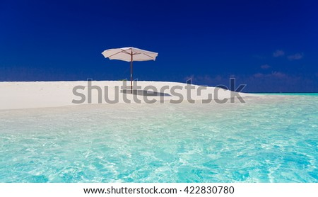 Beautiful amazing nature background. White sunbed longue in tropical blue sun sea. Luxury holiday resort. Island atoll about coral reef. Fresh  freedom. Adventure day. Snorkeling  - stock photo