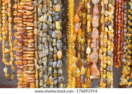 Beautiful amber necklaces - stock photo