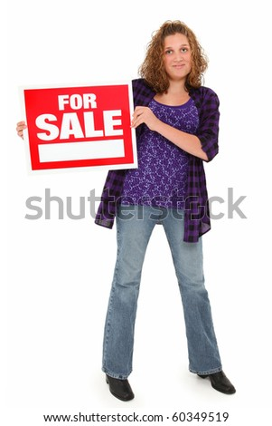 Beautiful american 13 year old teenager with red and white for sale sign over white background.