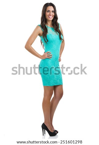 Beautiful and attarctive woman with a sexy dress, isolated on white