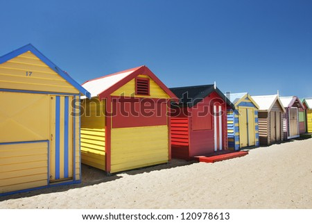 Beautiful and attractive colorful bathing boxes at Brighton beach, Australia